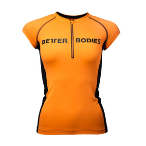 Zipped Tee, orange/black, Better Bodies i gruppen Produktkyrkogården hos Sportgymbutiken.se (BB-110768-262r)