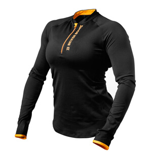 Zipped Long Sleeve, black/orange, Better Bodies i gruppen Kläder / Dam / Tröjor & skjortor / Funktionströjor hos Sportgymbutiken.se (BB-110769-987r)