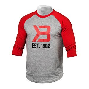 Kolla in Men's Baseball Tee, red/grey melange, Better Bodies hos SportGymButiken