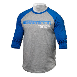 Kolla in Men's Baseball Tee, blue/grey melange, Better Bodies hos SportGymButike