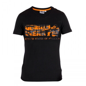 Sacramento V-Neck T-Shirt, black/orange, Gorilla Wear