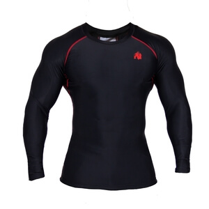 Kolla in Hayden Compression Longsleeve, black/red, Gorilla Wear hos SportGymButi