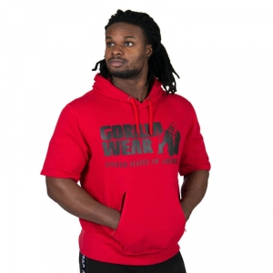 Kolla in Boston Short Sleeve Hoodie, red/black, Gorilla Wear hos SportGymButiken