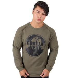 Kolla in Bloomington Crewneck Sweatshirt, army green, Gorilla Wear hos SportGymB