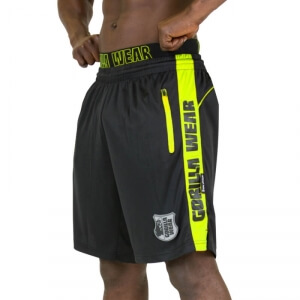 Kolla in Shelby Shorts, black/neon lime, Gorilla Wear hos SportGymButiken.se