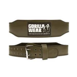 4 Inch Padded Leather Belt, army green, Gorilla Wear