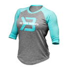 Women's Baseball Tee, grey melange/light aqua, Better Bodies