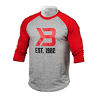 Men's Baseball Tee, red/grey melange, Better Bodies