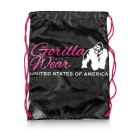 GW Drawstring Bag, black/pink, Gorilla Wear
