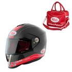 Motorcykelhjälm M6 Carbon Race, black/red, Bell