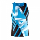Run Team Race Singlet Unisex, black/cyan, Salming Sports