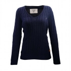 Seaport Lady Sweater V-Neck, navy, Marine