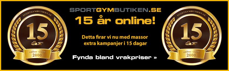 SportGymButiken har funnits online i 15 år med vår webshop. Detta firar vi nu med massor extra kampanjer i 15 dagar, med start 2015-05-15!Kolla in alla extra kampanjer på vårt 15-års jubileum »