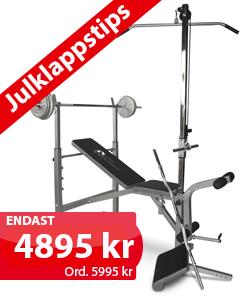 Beställ eller läs mer om bänk med ställning, skivstång & hantelset på 72 kg här »